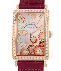 Franck Muller Long Island 18kt Rose Gold & Diamonds White Quartz 952 Qz Rel Mop Rg D 1r (5N)