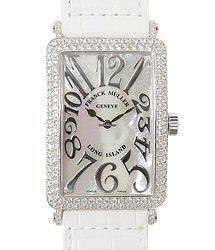 Franck Muller Long Island 18kt White Gold & Diamond White Quartz 1002 Qz Rel Mop D (OG)