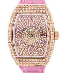 Franck Muller Vanguard 18kt Rose Gold & Diamonds Pink Quartz V29 Qz D CD(5N.RS)