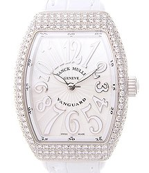 Franck Muller Vanguard Stainless Steel & Diamonds White Quartz V 32 Qz D (AC.BC)