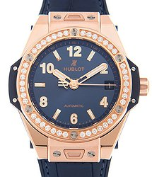 Hublot Big Bang 18kt Rose Gold & Diamonds Blue Automatic 465.OX.7180.LR.1204