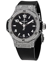 Hublot Big Bang Black Dial Black Rubber Ladies Watch