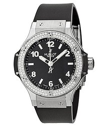 Hublot Big Bang Black Dial Diamond Black Rubber Ladies Watch