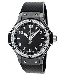 Hublot Black Magic Black Dial Black Rubber Ladies Watch