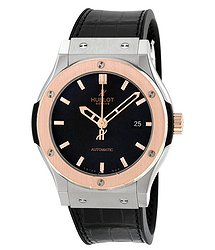 Hublot Classic Fusion Automatic Titanium Dial Black Alligator Leather Men's Watch