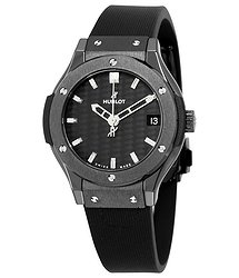 Hublot Classic Fusion Black Carbon Fiber Dial Black Rubber Ladies Watch