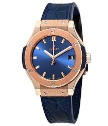 Hublot Classic Fusion Blue Dial 18kt Rose Gold Ladies Watch