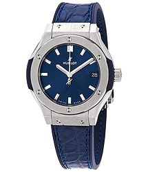 Hublot Classic Fusion Blue Dial Ladies Blue Leather Watch