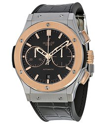 Hublot Classic Fusion Matte Black Automatic Chronograph Black Alligator Rubber Men's Watch
