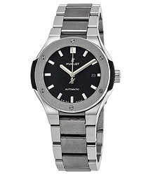 Hublot Classic Fusion Matte Black Dial Automatic Titanium Ladies Watch