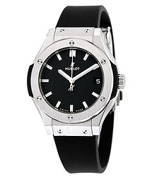 Hublot Classic Fusion Titanium Black Dial Black Rubber Ladies Watch 581NX1171RX
