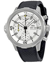 IWC Aquatimer Chronograph Silver Dial Black Rubber Men's Watch