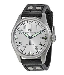 IWC Big Pilot Son Watch Silver Dial Black Leather Men's Watch