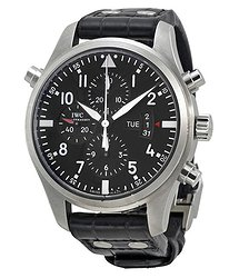 IWC Double Chronograph Pilot Black Dial Black Leather Men's Watch
