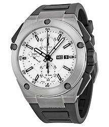 IWC Ingenieur Double Chronograph Silver Dial Rubber Strap Automatic Men's Watch