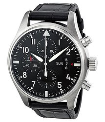 IWC Pilot Chronograph Automatic Black Dial Black Leather Men's Watch