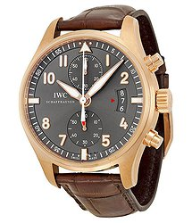 IWC Pilot Spitfire Grey Dial 18kt Rose Gold Brown Leather Men's Watch