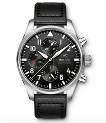 IWC Pilots Watch Chronograph  Black Dial Automatic Self Wind IW377709 Mens WATCH