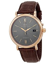 IWC Portofino Automatic Grey Dial Brown Leather Men's Watch
