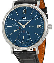 IWC Portofino Blue Dial Black Leather Men's Watch