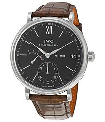 IWC Portofino Manual Wind Eight Days Black Dial Brown Leather Men's Watch 5101-02