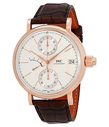 IWC Portofino Monopusher Silver-Plated Dial Chronograph 18K Rose Gold Men's Watch