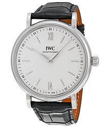 IWC Portofino Silver Dial 8 Day Power Reserve Black Leather Men's Watch 5111-02