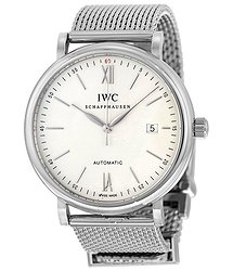 IWC Portofino Silver Dial Stainless Steel Mesh Men's Watch