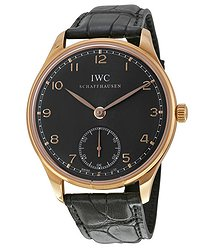 IWC Portuguese Ardoise Dial 18kt Rose Gold Black Leather Men's Watch 5454-06