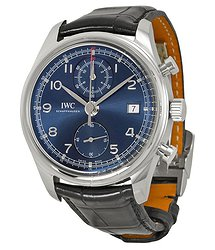 IWC Portuguese Chronograph Classic Edition Laureus Blue Dial Black Leather Men's Watch IW3904-06