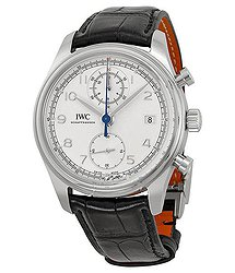 IWC Portuguese Chronograph Classic Silver Dial Leather Strap Automatic Men's Watch
