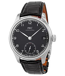 IWC Portuguese Hand Wound Eight Days Black Leather Men's Watch