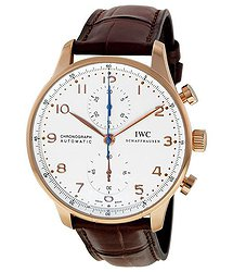 IWC Portuguese Silver Dial Chronograph Rose Gold Leather Automatic Men's Watch