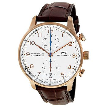 Купить часы IWC Portuguese Silver Dial Chronograph Rose Gold Leather Automatic Men's Watch  в ломбарде швейцарских часов