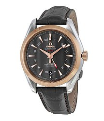 Omega Aqua Terra Grey Dial Brown Alligator Men's Watch 23123432206001