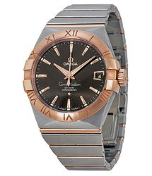 Omega Constellation Automatic Brown Dial Stainless Steel Rose Gold Men's Watch