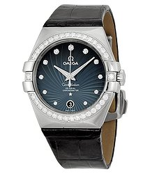 Omega Constellation Blue Diamond Dial Black Leather Men's Watch 12318352056001