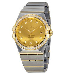 Omega Constellation Champagne Dial Steel and 18kt Yellow Gold Diamond Men's Watch 12325352058001
