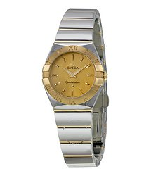 Omega Constellation Champagne Dial Yellow Gold and Stainless Steel Ladies Watch