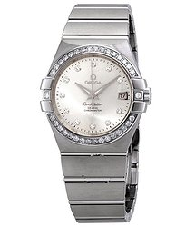 Omega Constellation Co-Axial Automatic Chronometer Diamond Silver Dial Ladies Watch