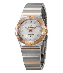 Omega Constellation Diamond Mother of Pearl Dial Steel and Rose Gold Ladies Watch