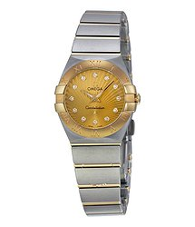 Omega Constellation Gold Dial Diamond Ladies Watch
