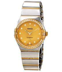 Omega Constellation Manhattan Champagne Diamond Dial Ladies Watch