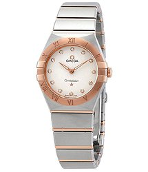 Omega Constellation Manhattan Diamond Dial Ladies Steel and 18k Sedna Gold Watch