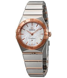 Omega Constellation Manhattan Mother of Pearl Dial Ladies Steel and 18kt Sedna Gold Watch