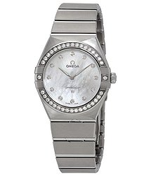 Omega Constellation Manhattan Mother of Pearl Diamond Dial Ladies Watch