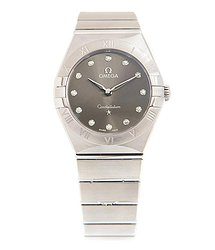 Omega Constellation Manhattan Quartz Diamond Grey Dial Ladies Watch