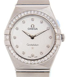 Omega Constellation Manhattan Quartz Diamond Silver Dial Ladies Watch