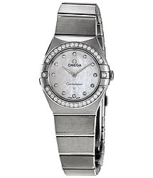 Omega Constellation Manhattan Quartz Diamond White Mother of Pearl Dial Ladies Watch