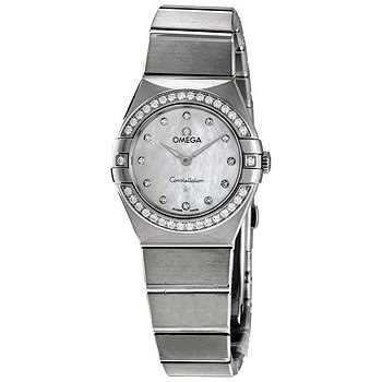 Купить часы Omega Constellation Manhattan Quartz Diamond White Mother of Pearl Dial Ladies Watch  в ломбарде швейцарских часов